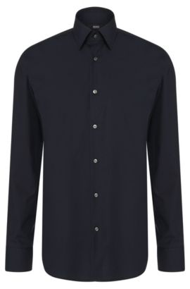 Regular-fit shirt in easy-iron cotton: 'Enzo', Dark Blue