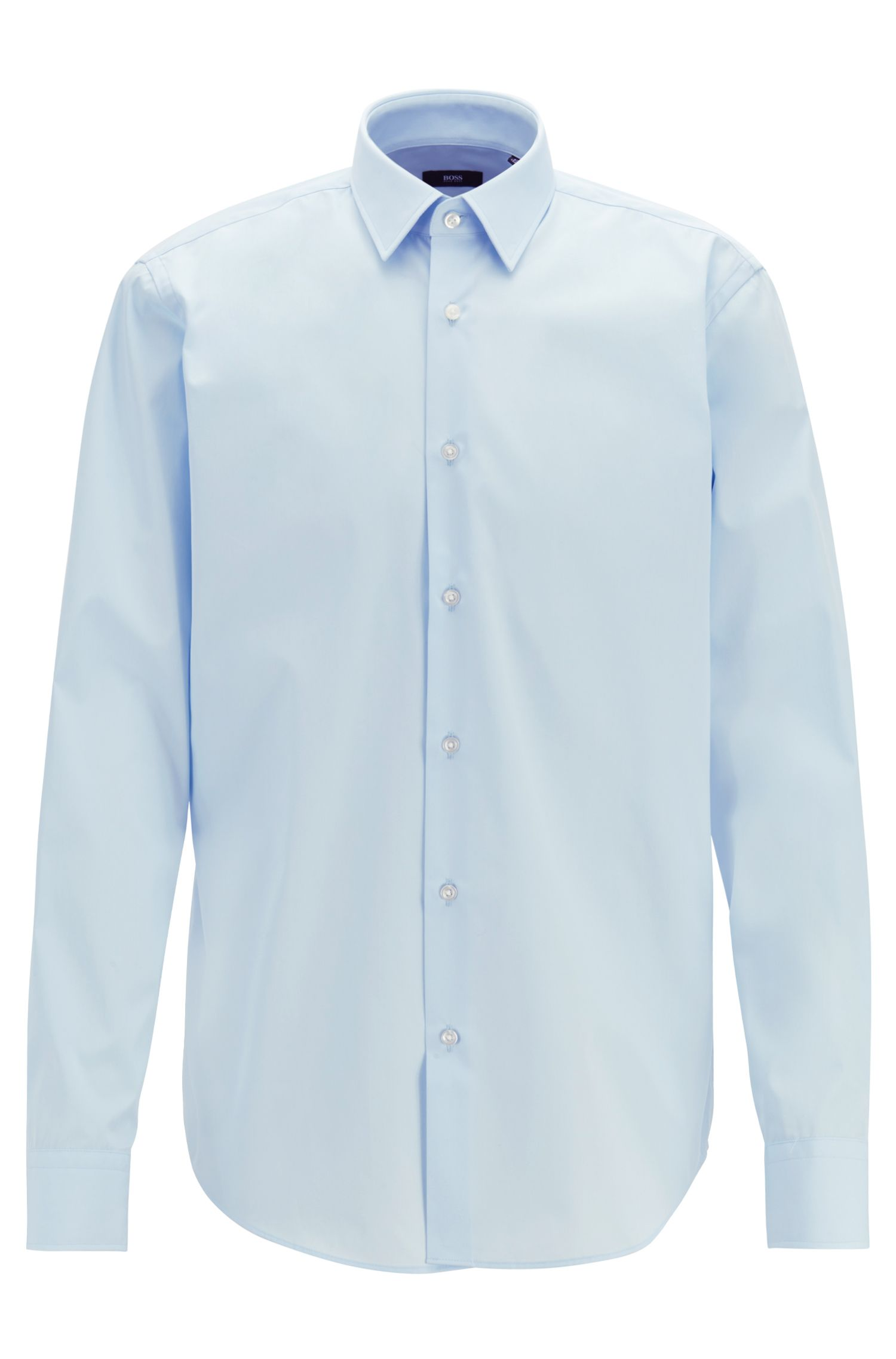 Regular-Fit Hemd aus Baumwoll-Popeline, Hellblau