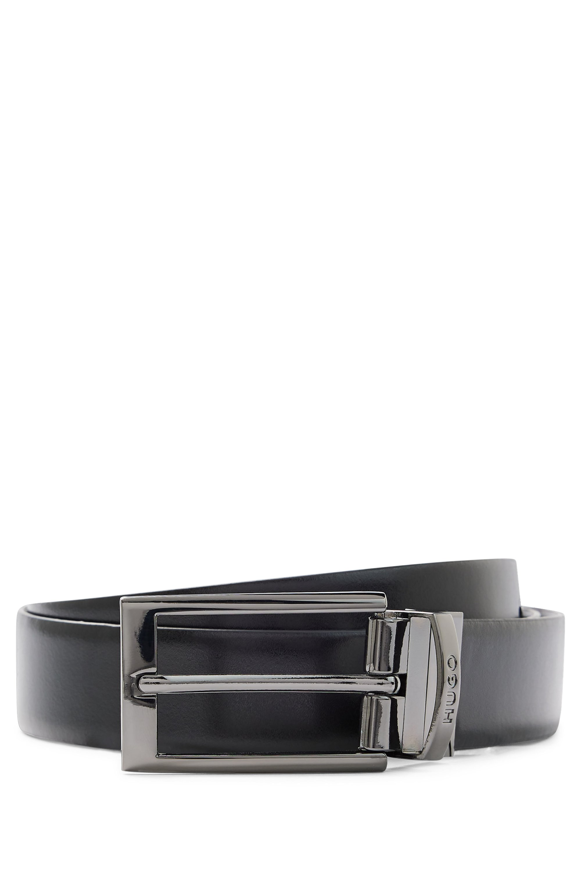 Calf-leather belt with polished silver-tone buckle, Black