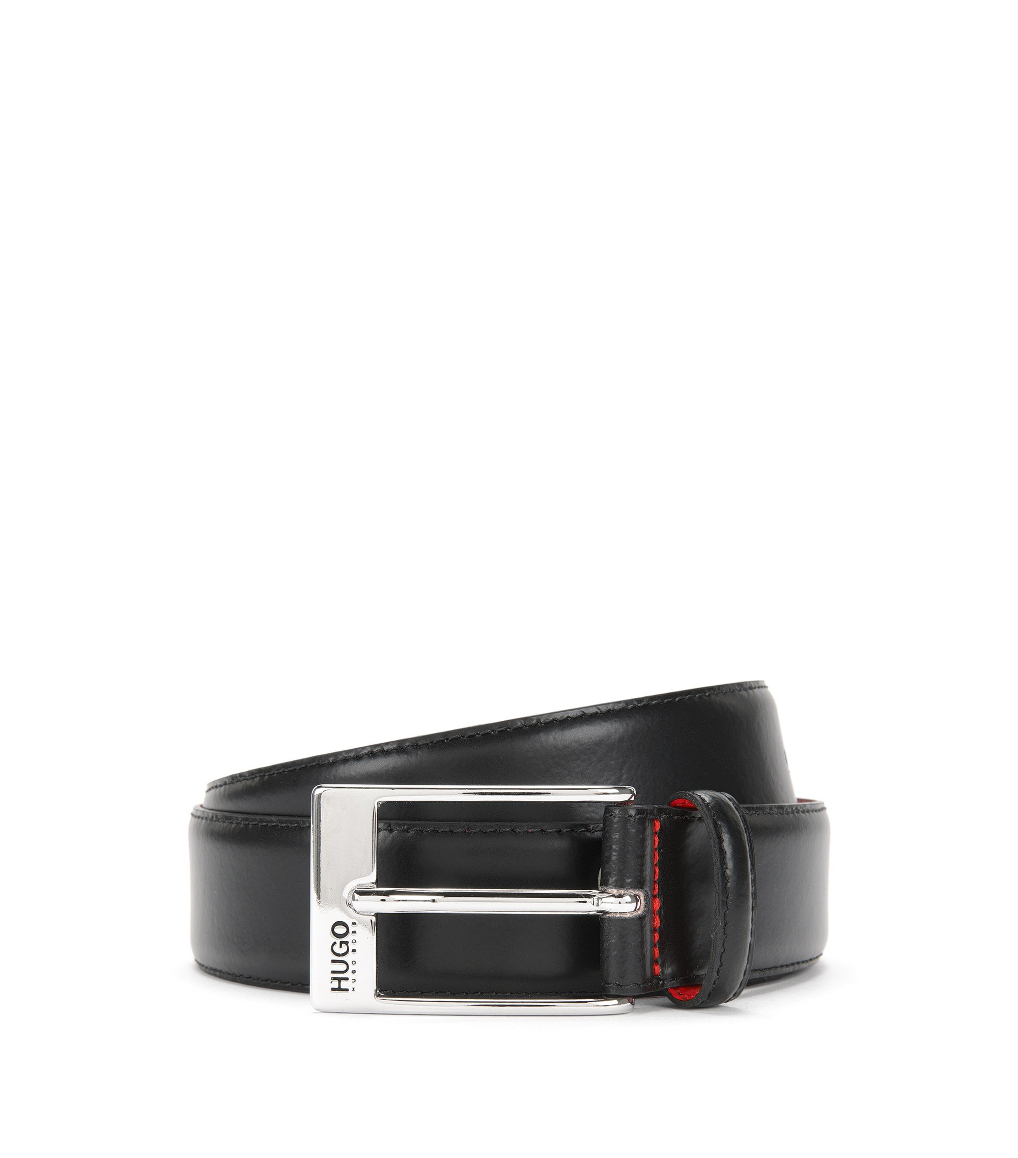 Leather belt with polished pin buckle , Black