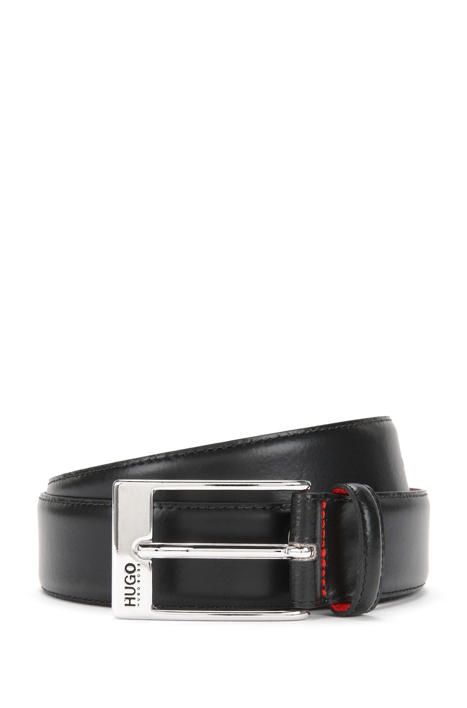 Cinturón de piel con hebilla pulida