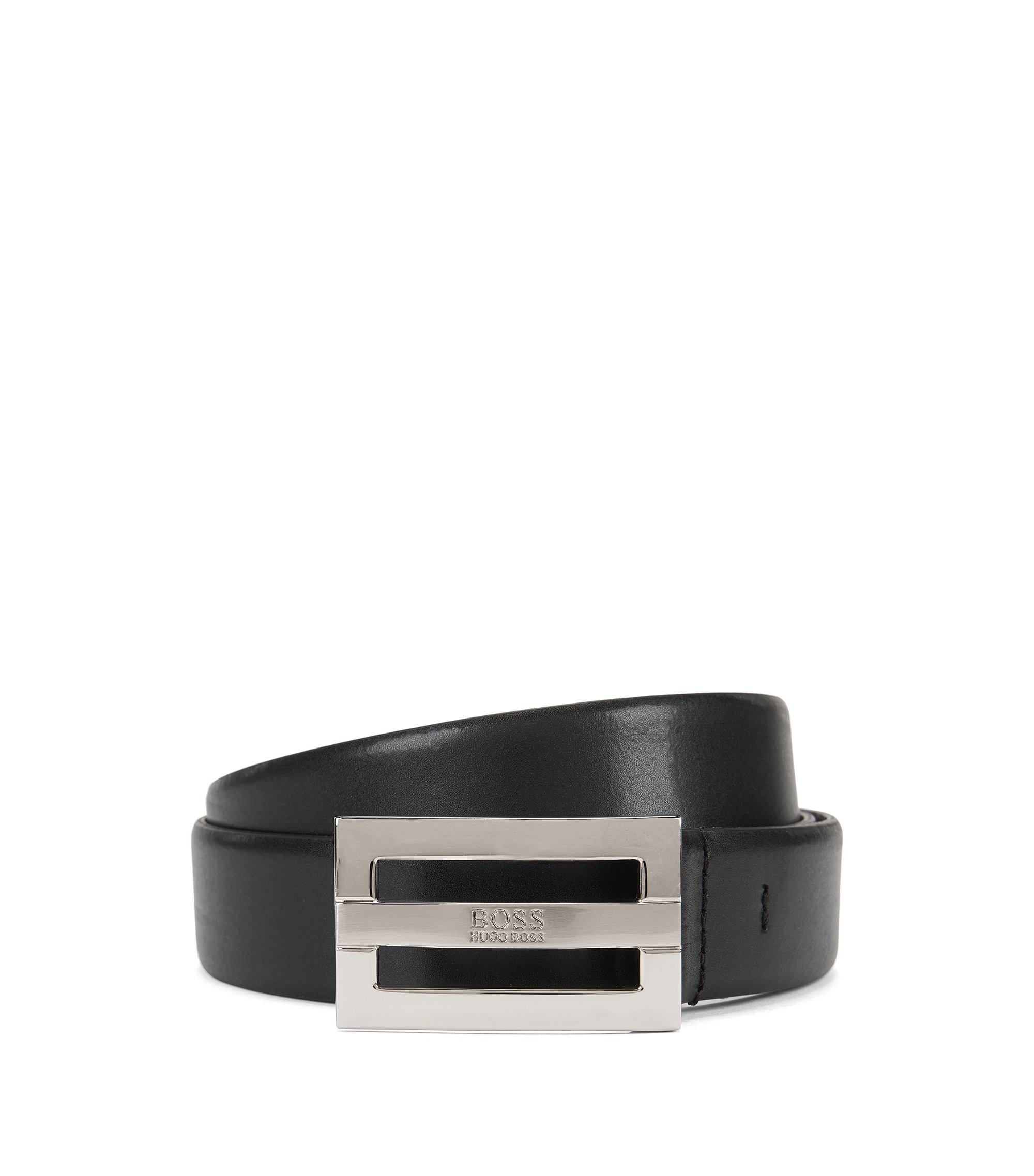 Leather belt with branded buckle, Black