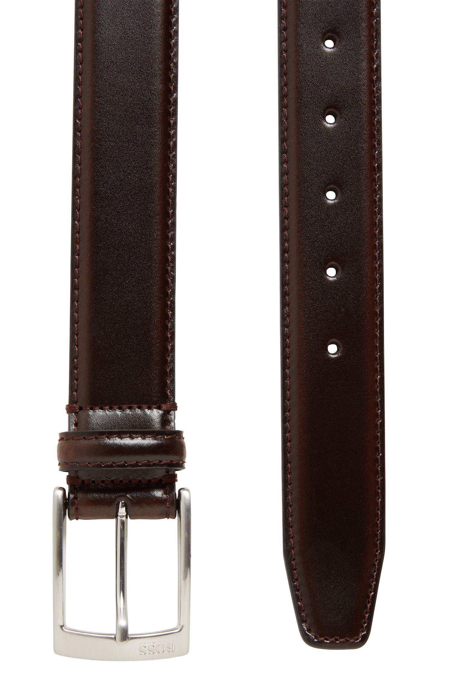 Cintura in pelle con fibbia ad ardiglione e dettagli in metallo spazzolato color argento, Marrone scuro