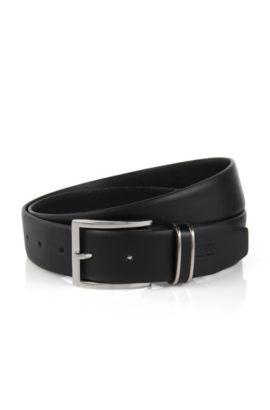 Leather belt with metal-trimmed keeper, Black