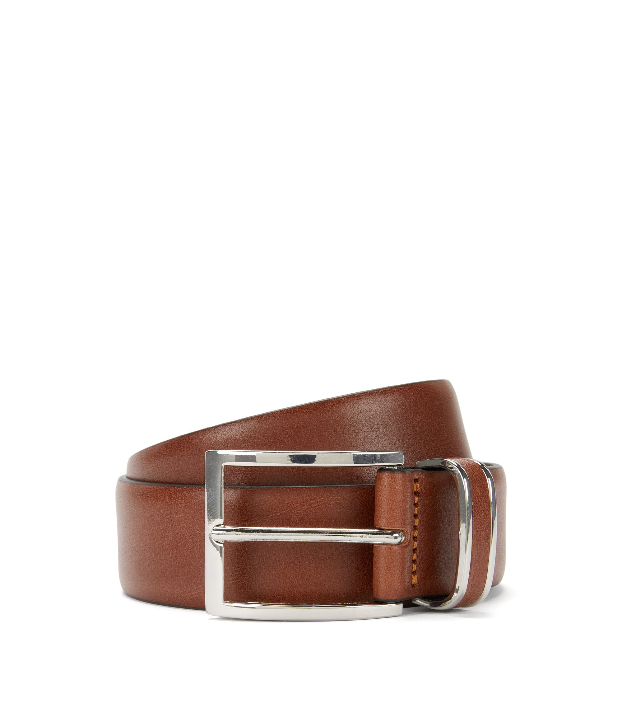Leather belt with metal-trimmed keeper, Brown