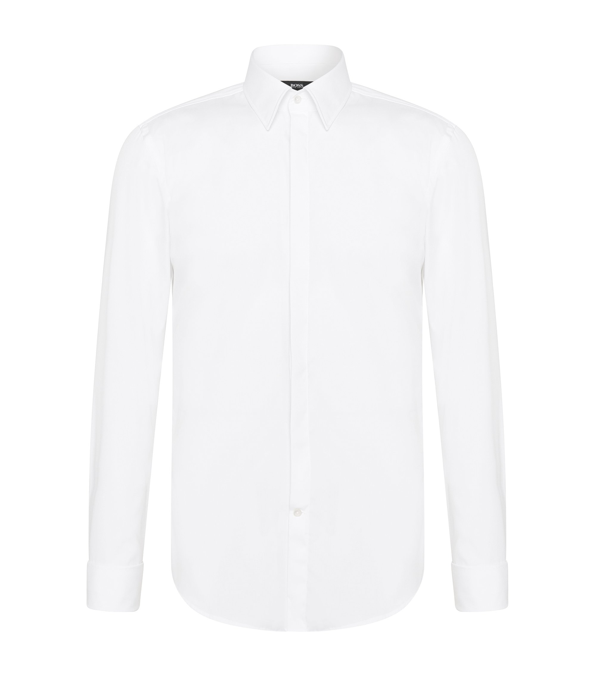 Chemise de smoking Slim Fit en coton : « Ilias », Blanc