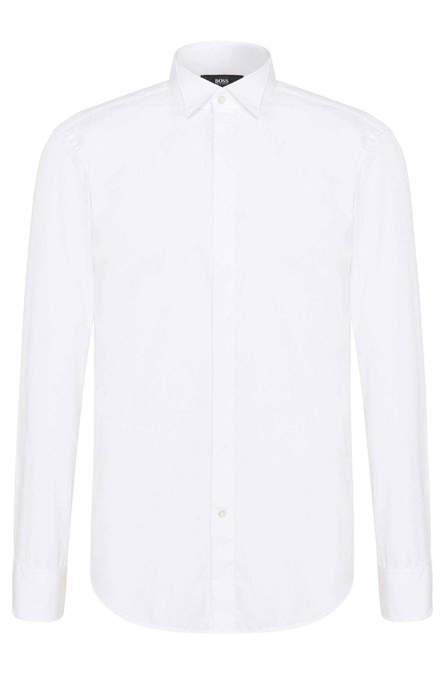 Regular-fit cotton dress shirt with turn-back cuffs: 'Ewen'