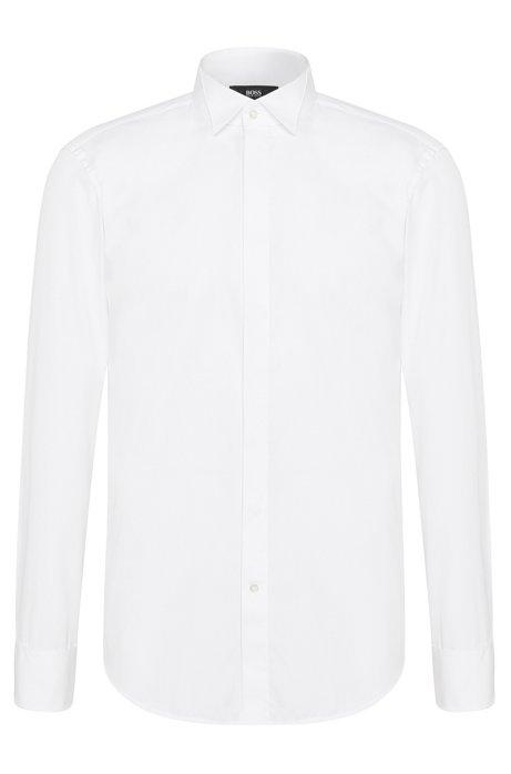 Regular-fit cotton dress shirt with turn-back cuffs: 'Ewen', White