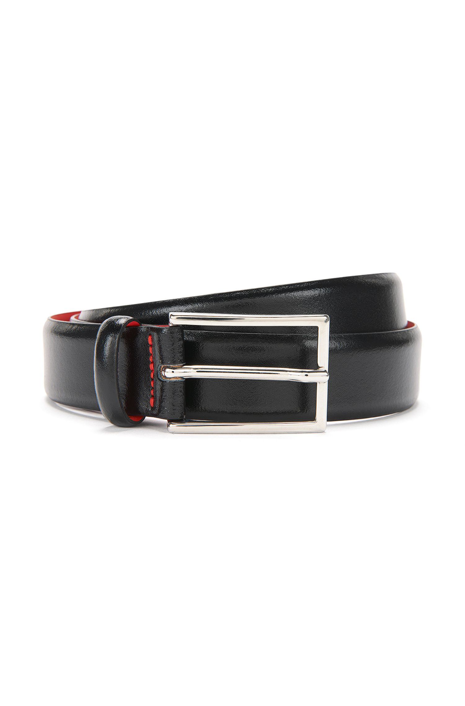 Polished Italian leather belt by HUGO Man, Black