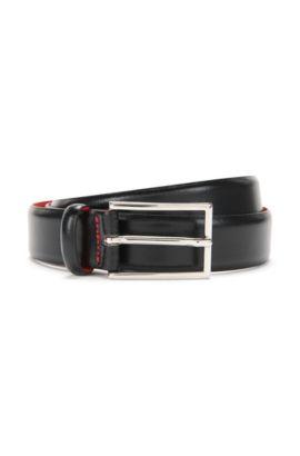 Polished Italian leather belt by HUGO Man, Black