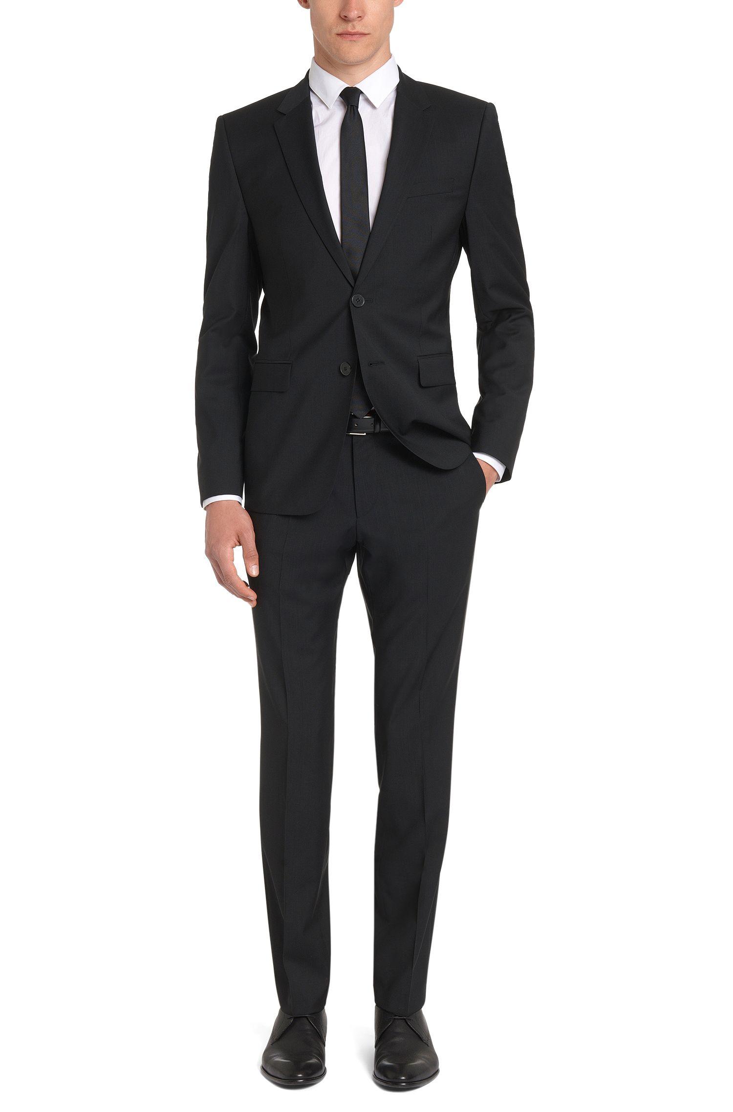 Cinturón de piel italiana pulida de HUGO Hombre, Negro