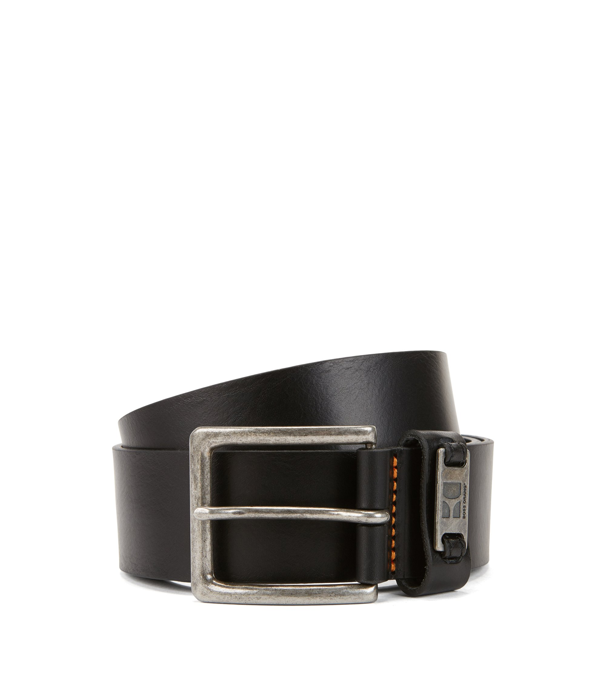 Leather belt with branded metal loop, Black