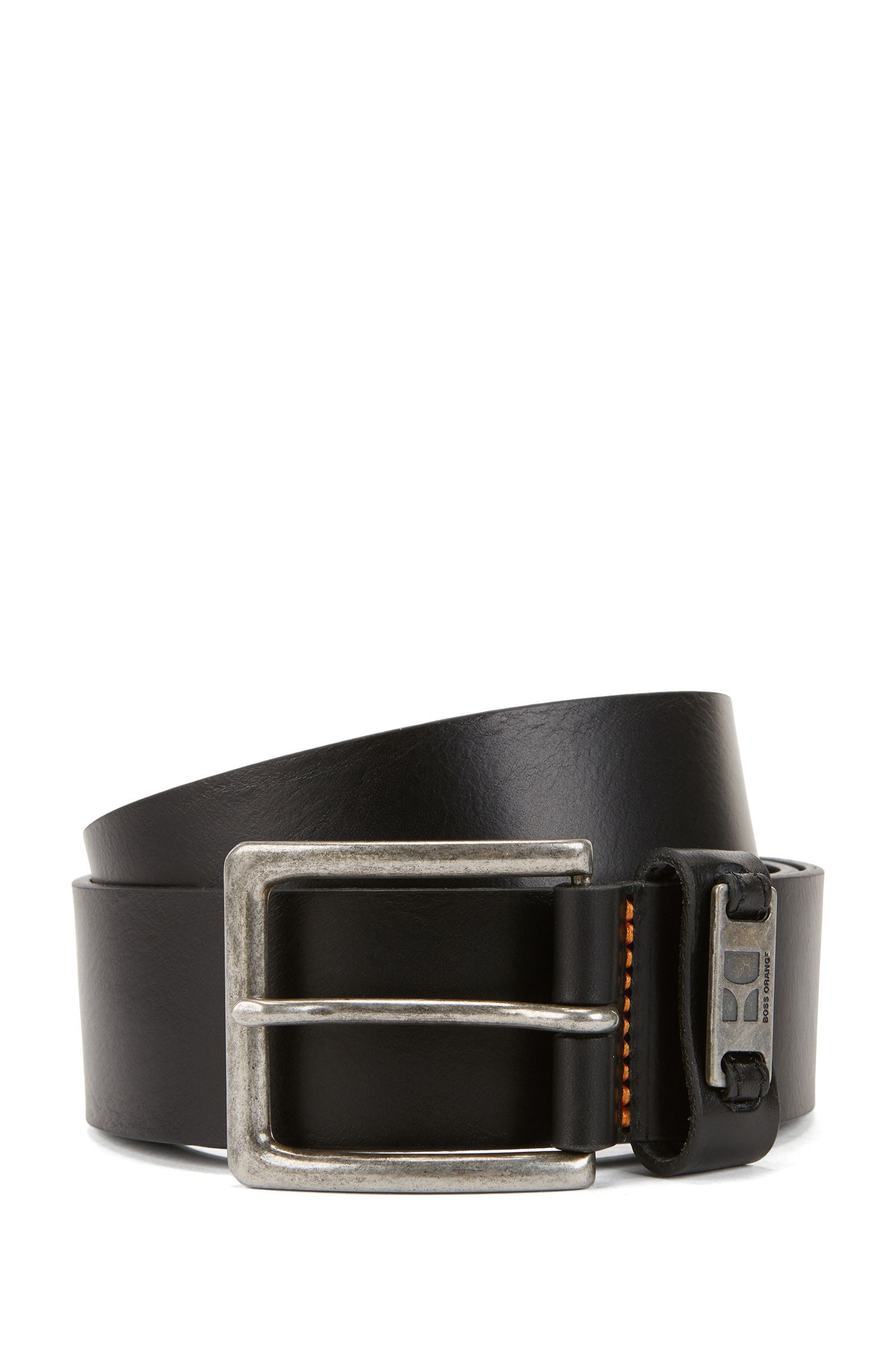 Leather belt with branded metal loop