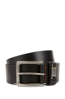 Leather belt with branded metal loop, Black