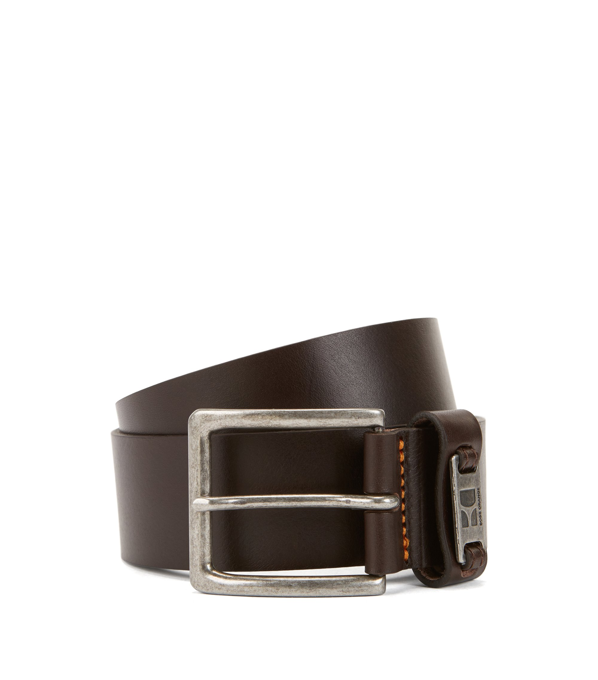 Leather belt with branded metal loop, Dark Brown