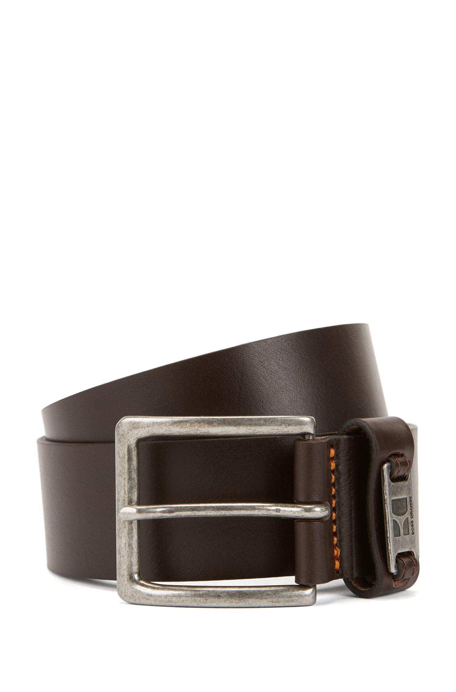 Leather belt with branded metal loop