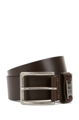 Cintura in pelle con passante in metallo con logo, Marrone scuro