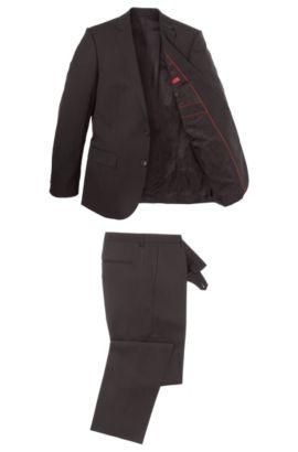 Slim-fit kostuum van een scheerwolmix: 'Amaro/Heise', Donkerbruin