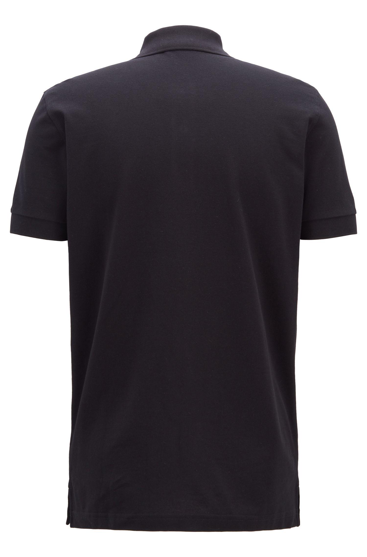 Regular-Fit Poloshirt aus Baumwoll-Piqué, Schwarz