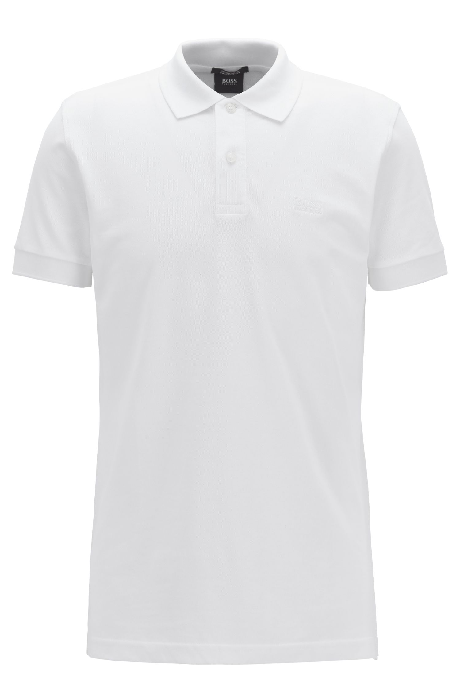 Polo Regular Fit en piqué de coton, Blanc