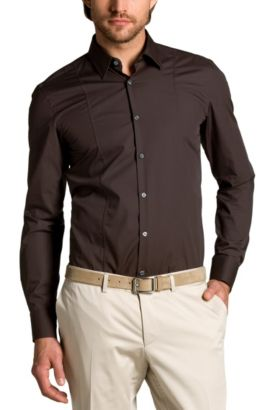 Chemise business coupe Slim Fit « Phillo » facile à repasser, Marron foncé