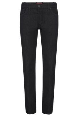 Regular-Fit Jeans aus Stretch-Baumwolle: 'HUGO 677/38', Schwarz