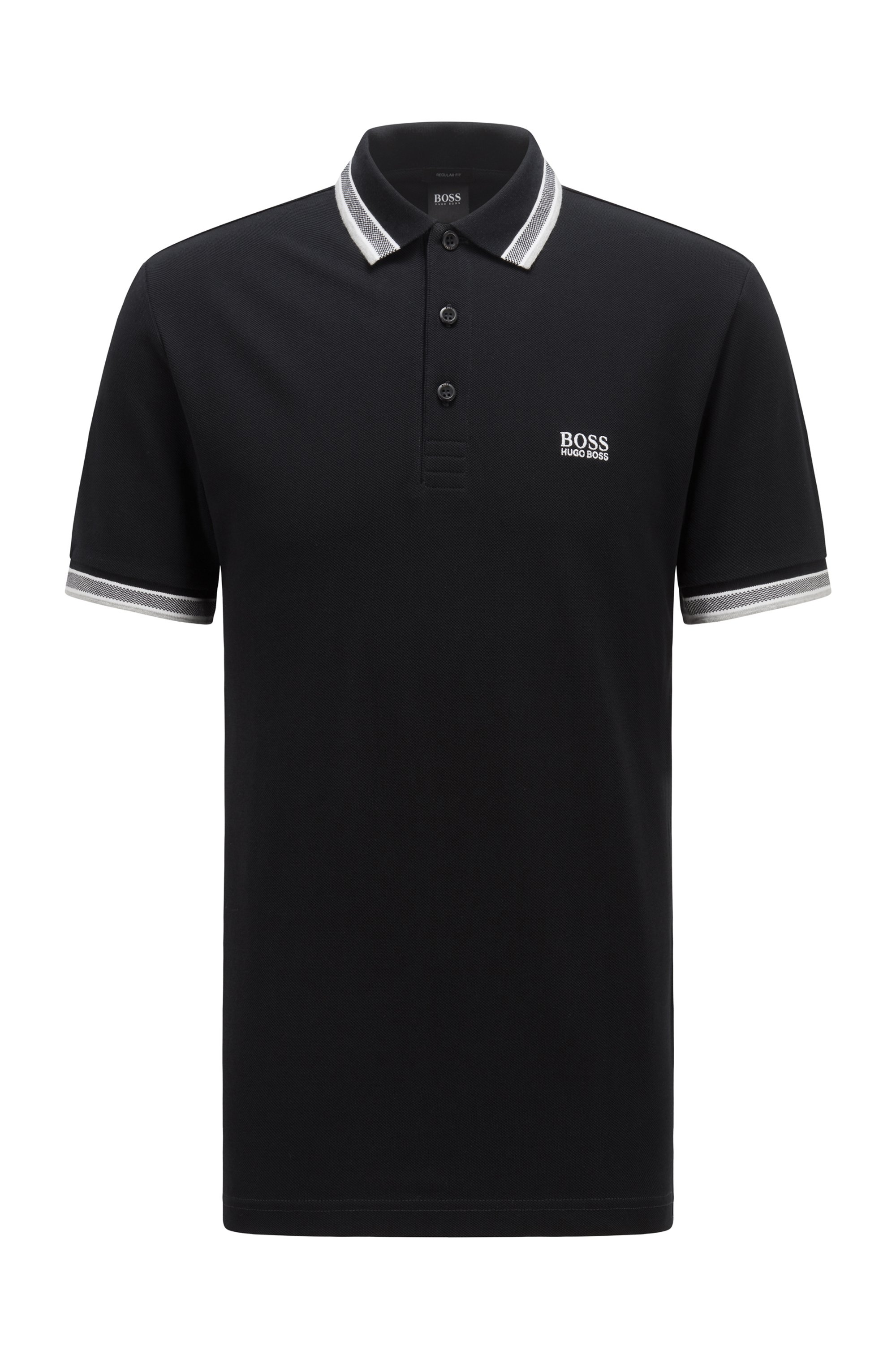 Cotton-piqué polo shirt with striped collar and cuffs, Black
