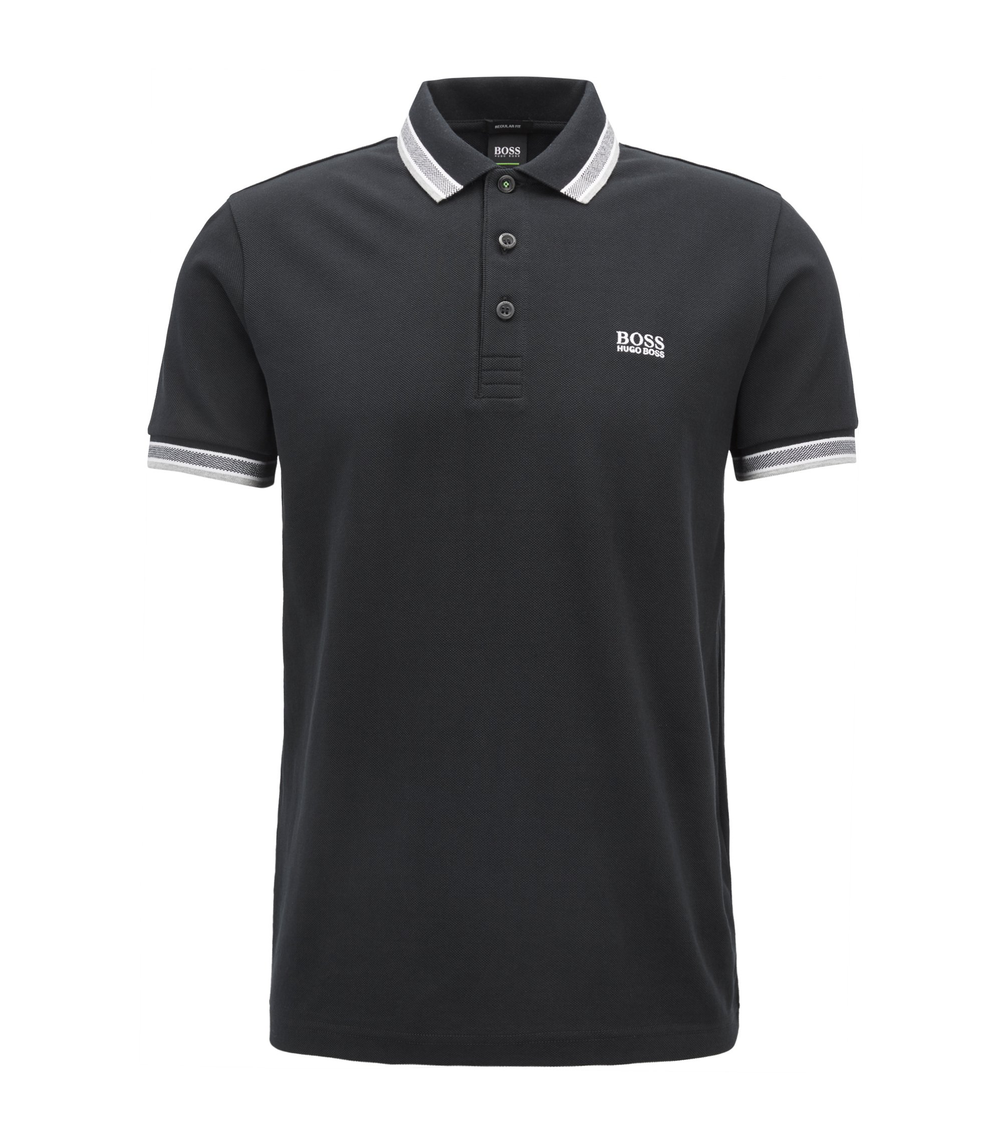 Polo regular fit con tapeta de 3 botones, Negro