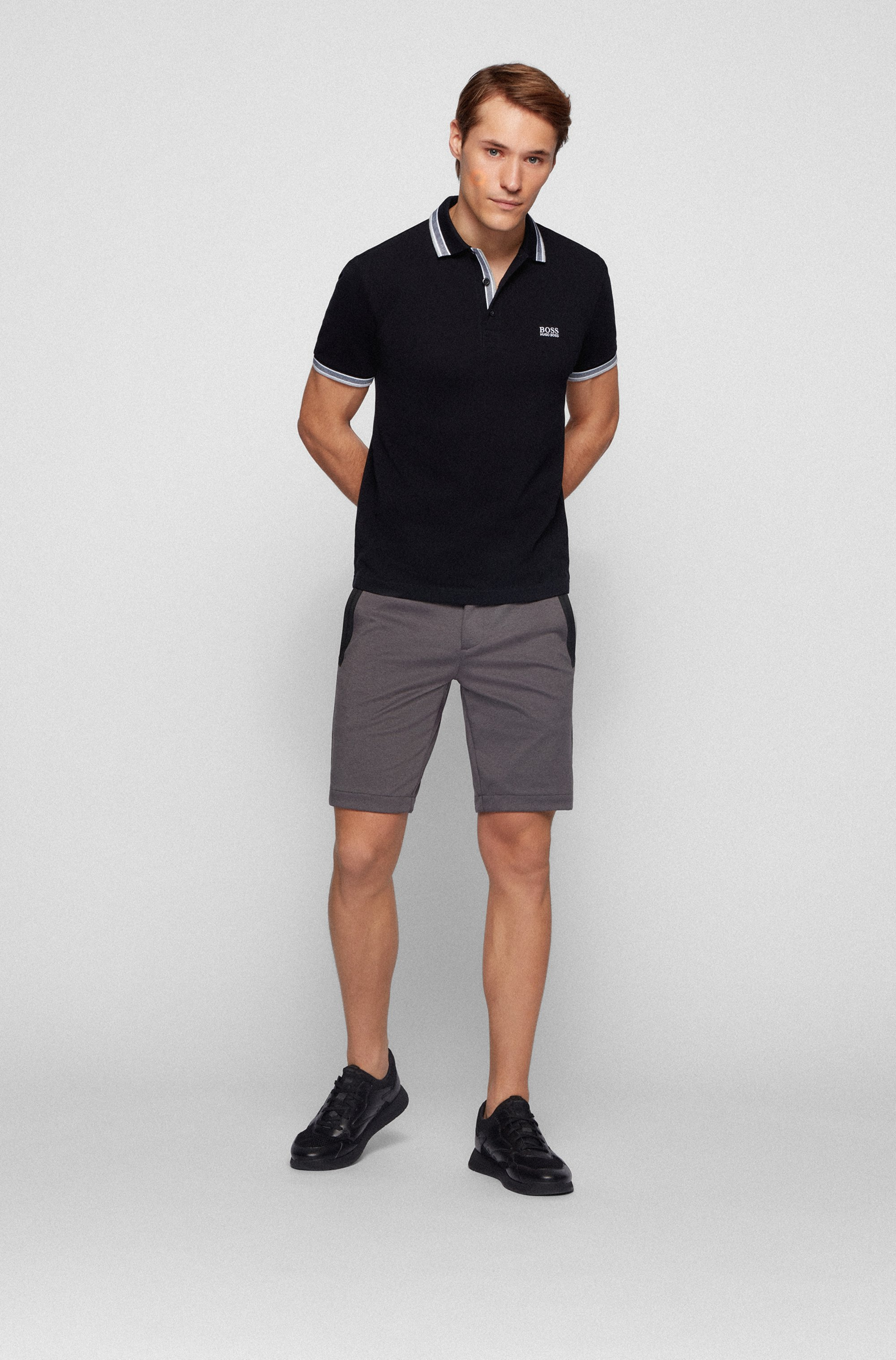 Cotton-piqué polo shirt with striped collar and cuffs