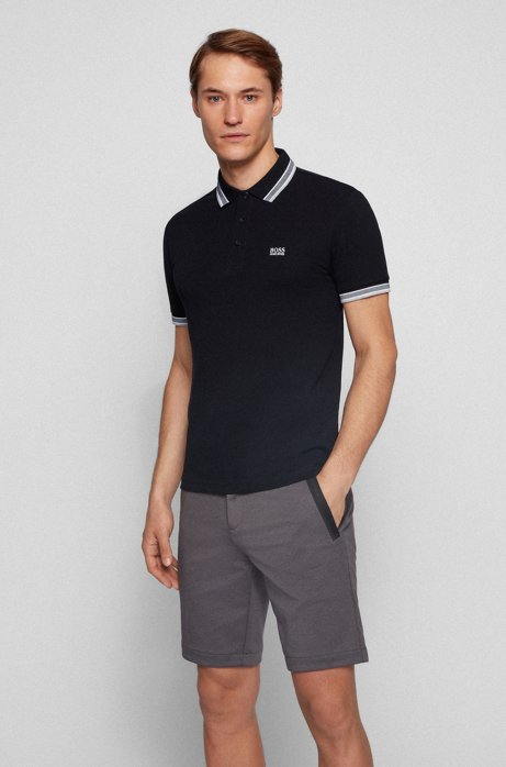 Regular fit polo shirt with three-button placket, Black