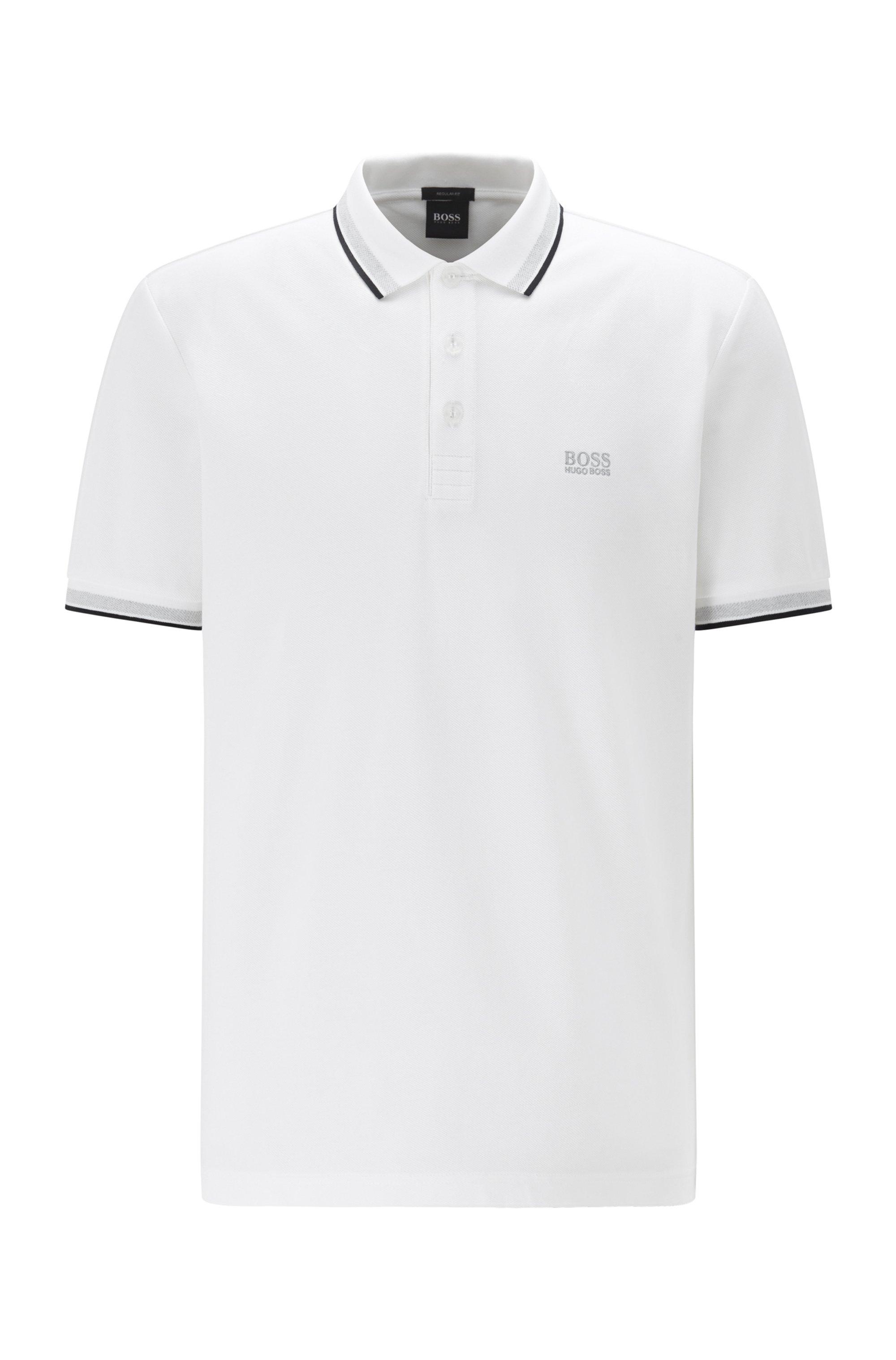 Poloshirt aus Baumwoll-Piqué mit Streifen an Kragen und Ärmelbündchen, Weiß