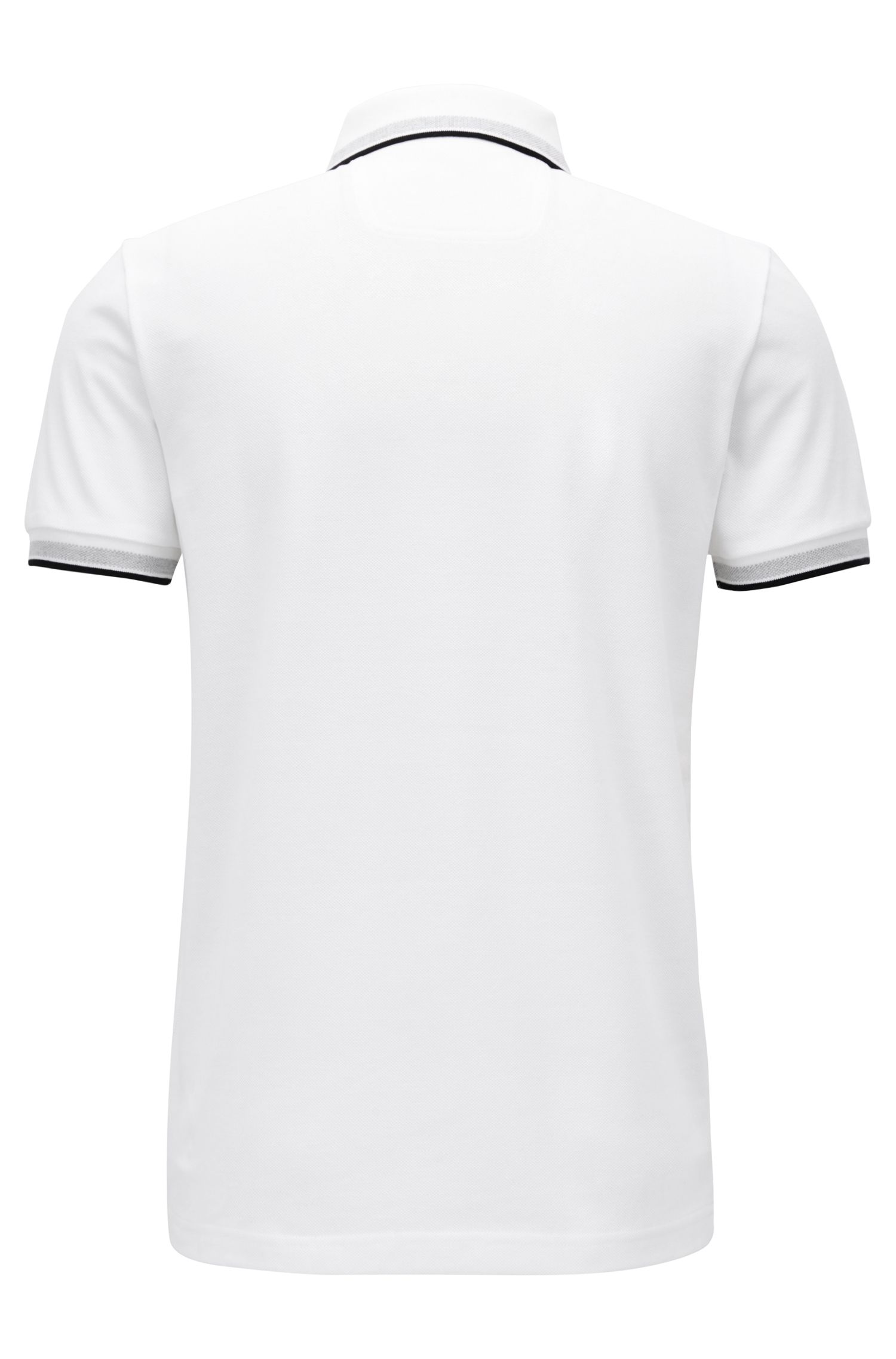 Regular fit polo shirt with three-button placket, White