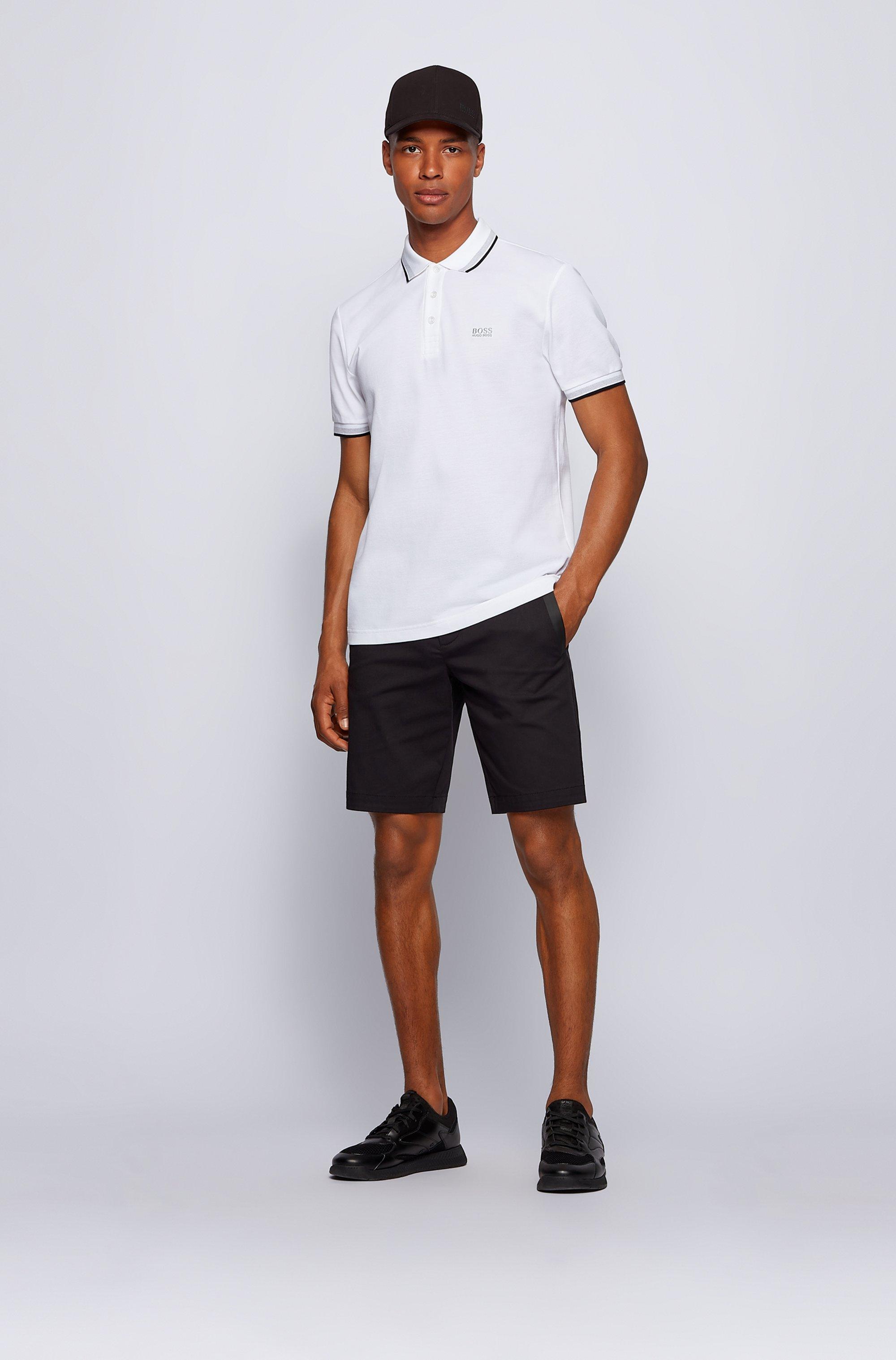 Poloshirt aus Baumwoll-Piqué mit Streifen an Kragen und Ärmelbündchen