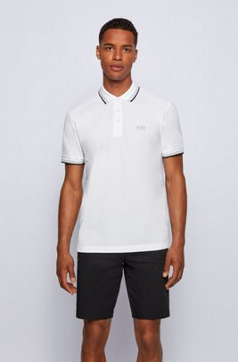Cotton-piqué polo shirt with striped collar and cuffs, White