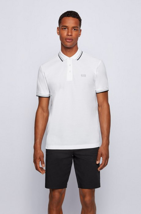 Polo regular fit con allacciatura con 3 bottoni, Bianco