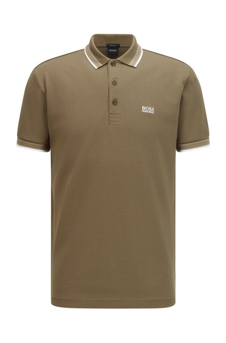 Cotton-piqué polo shirt with striped collar and cuffs, Light Green