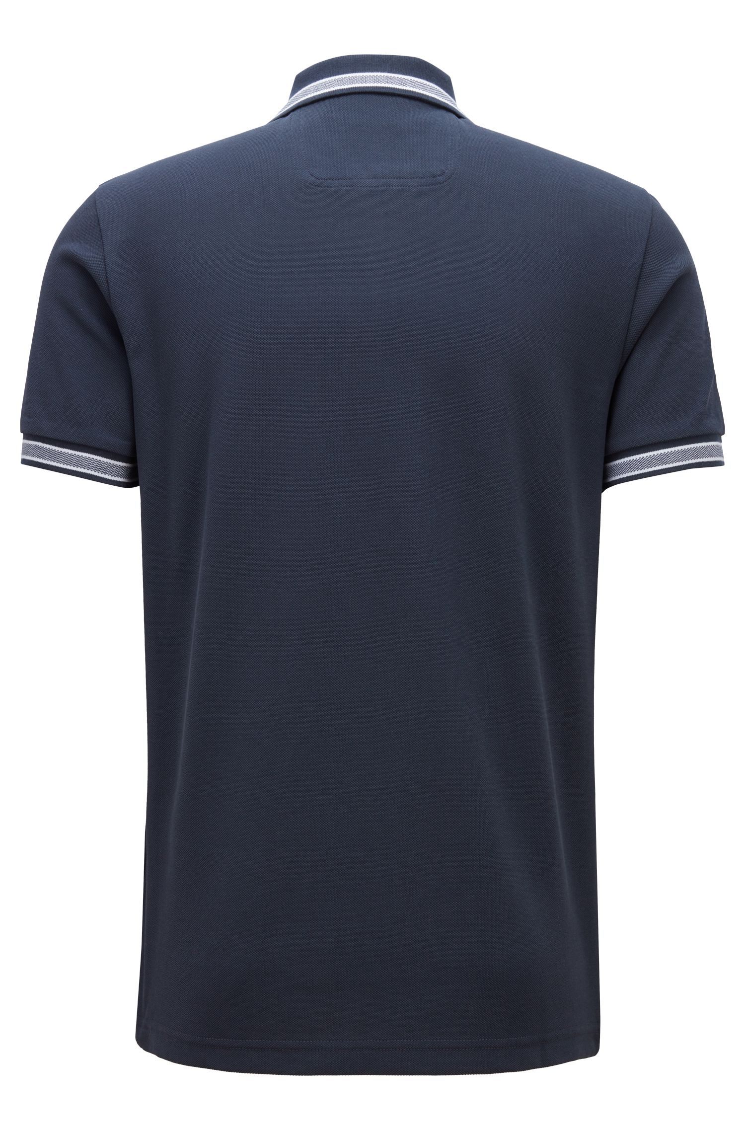 Regular fit polo shirt with three-button placket, Dark Blue
