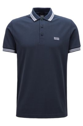 Polo regular fit con allacciatura con 3 bottoni, Blu scuro