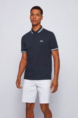 Cotton-piqué polo shirt with striped collar and cuffs, Dark Blue
