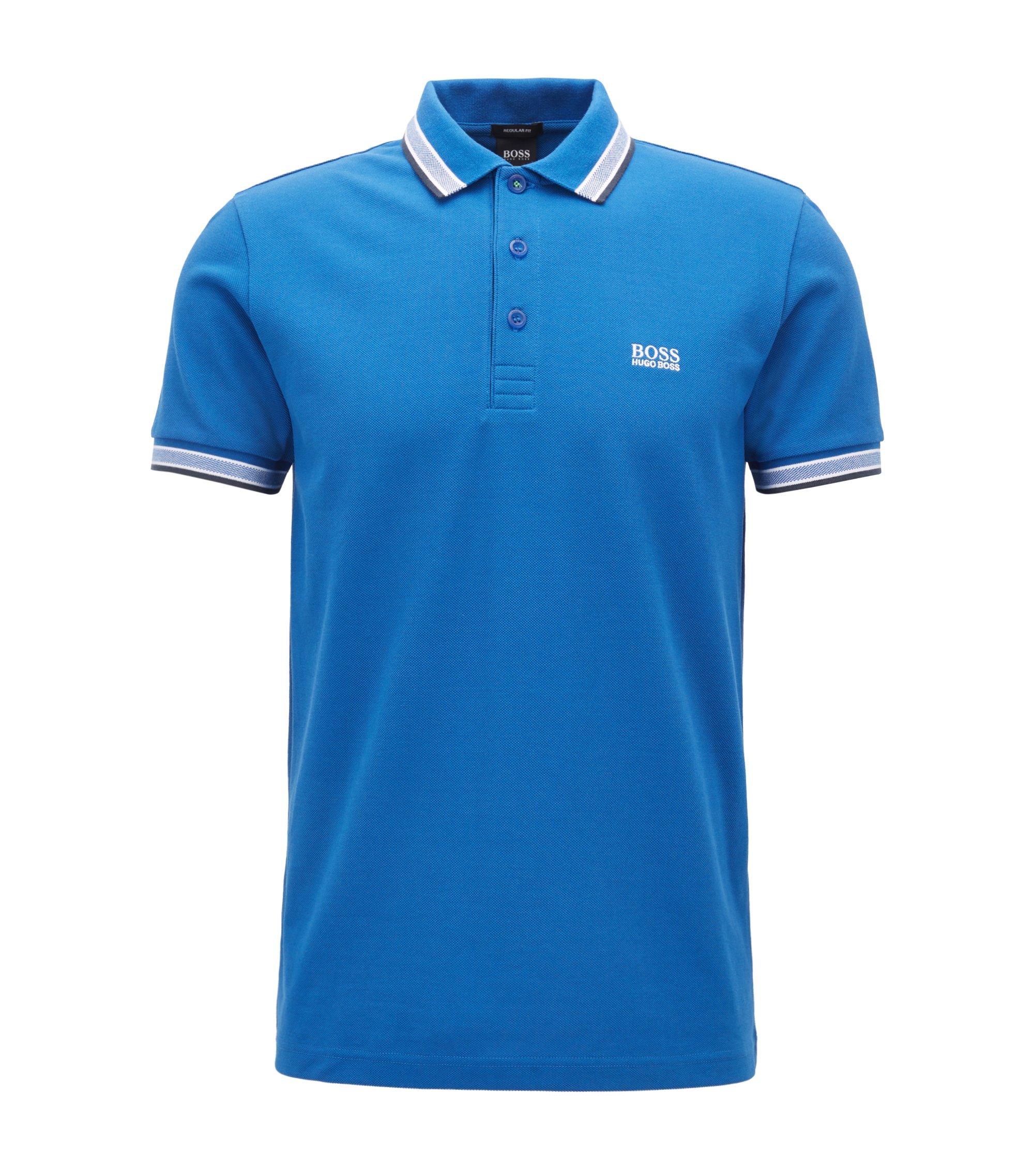Regular fit polo shirt with three-button placket, Blue