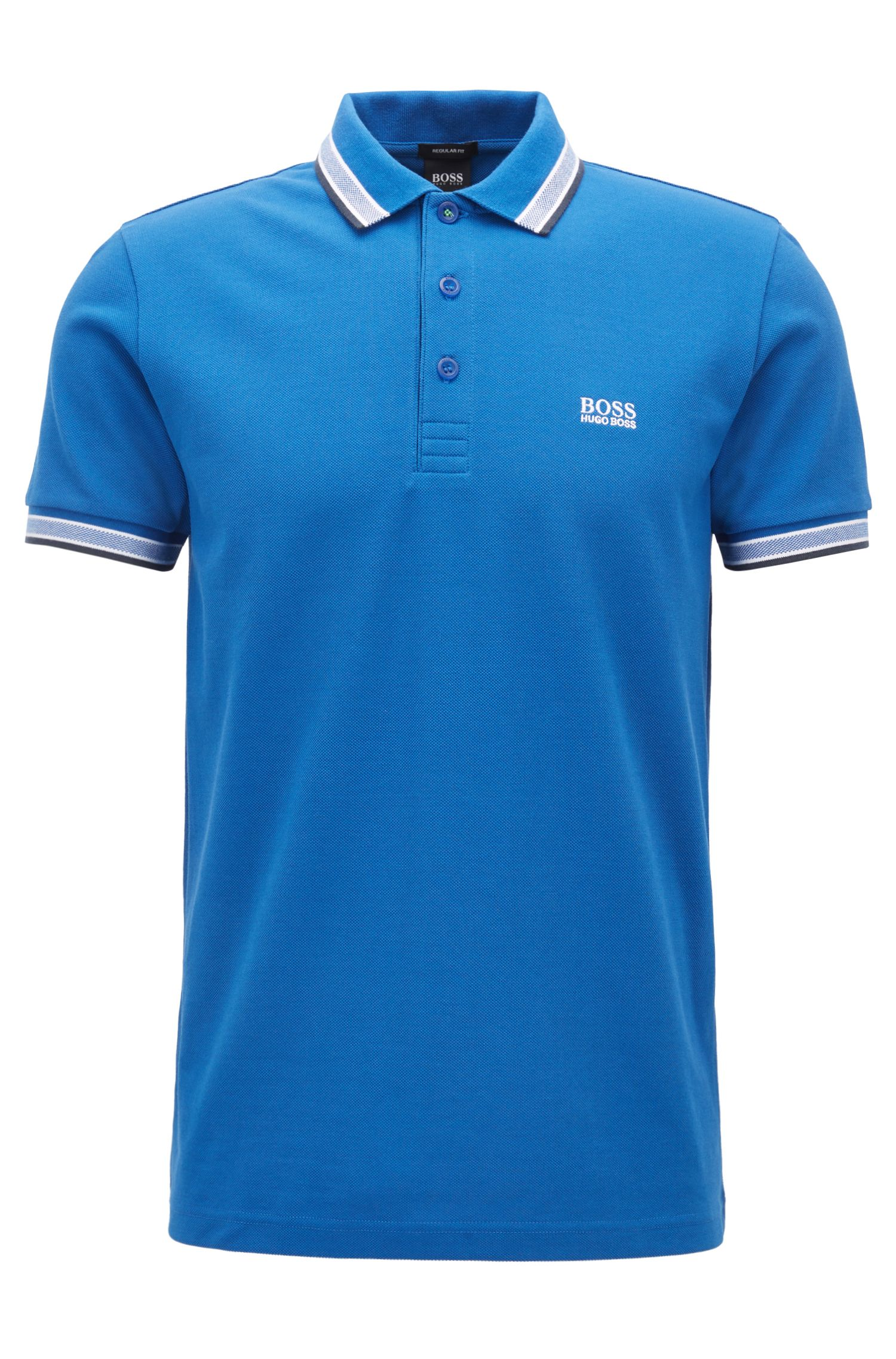 Polo regular fit con allacciatura con 3 bottoni, Blu