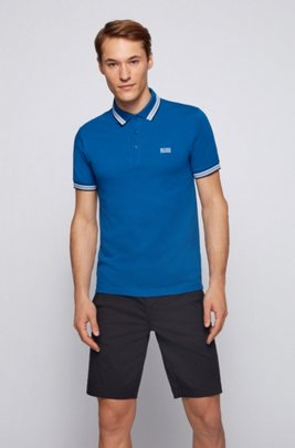 Cotton-piqué polo shirt with striped collar and cuffs, Blue
