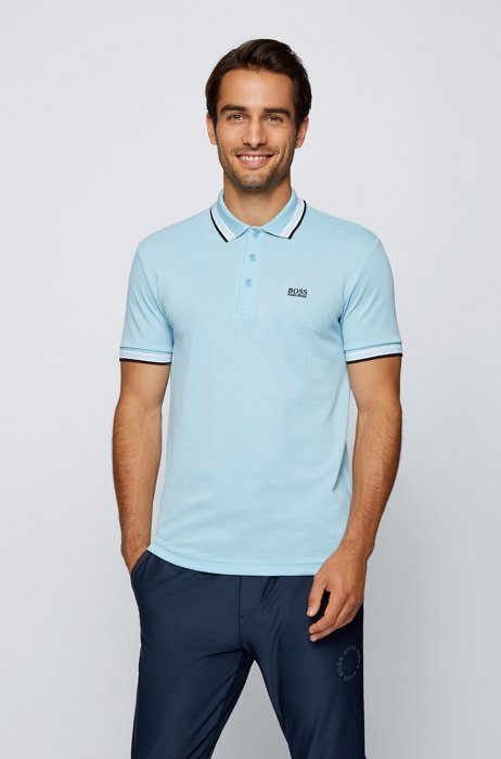 Cotton-piqué polo shirt with striped collar and cuffs, Light Blue