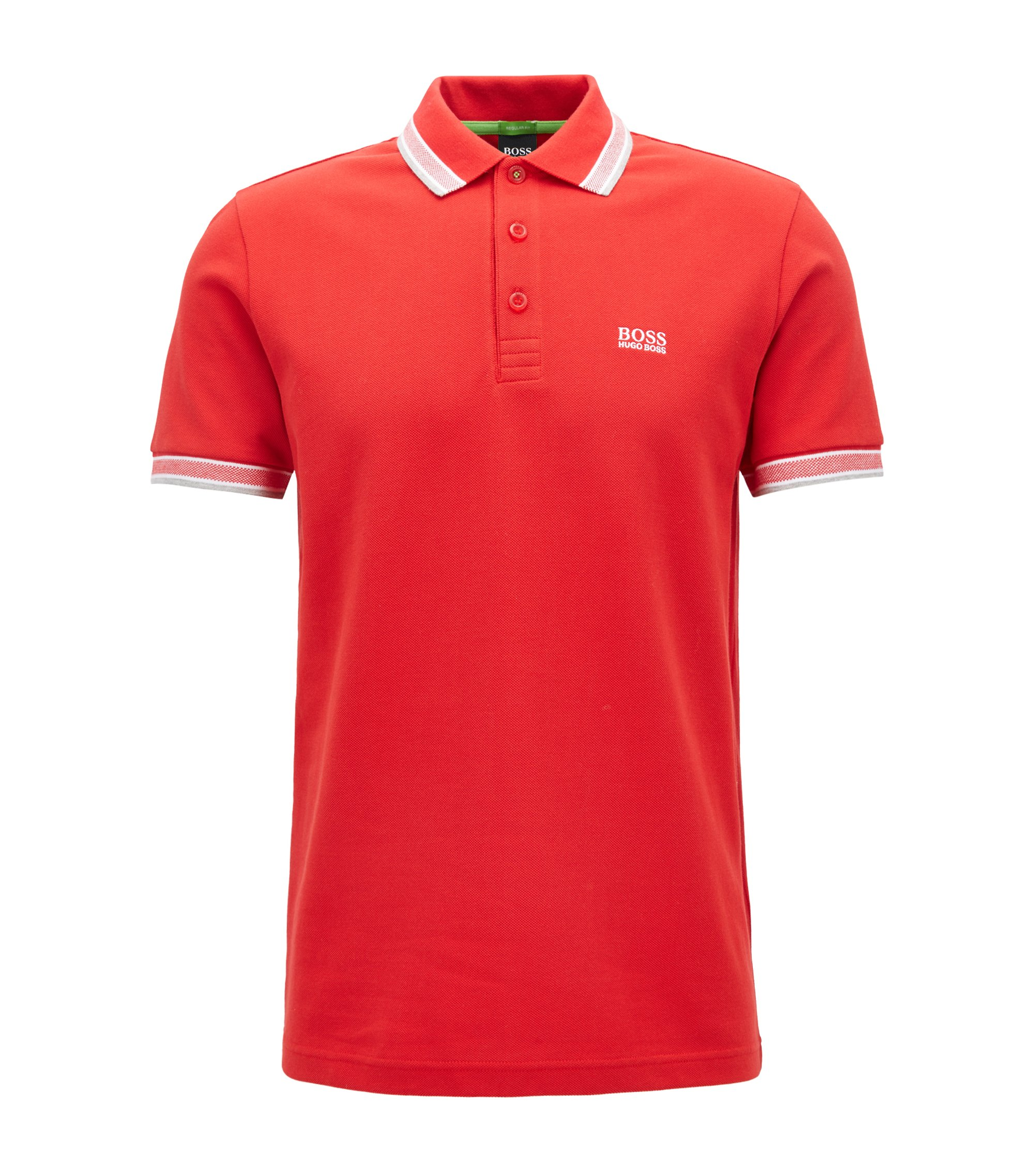 Regular fit polo shirt with three-button placket, Red