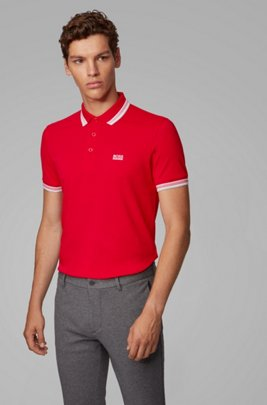 Cotton-piqué polo shirt with striped collar and cuffs, Red