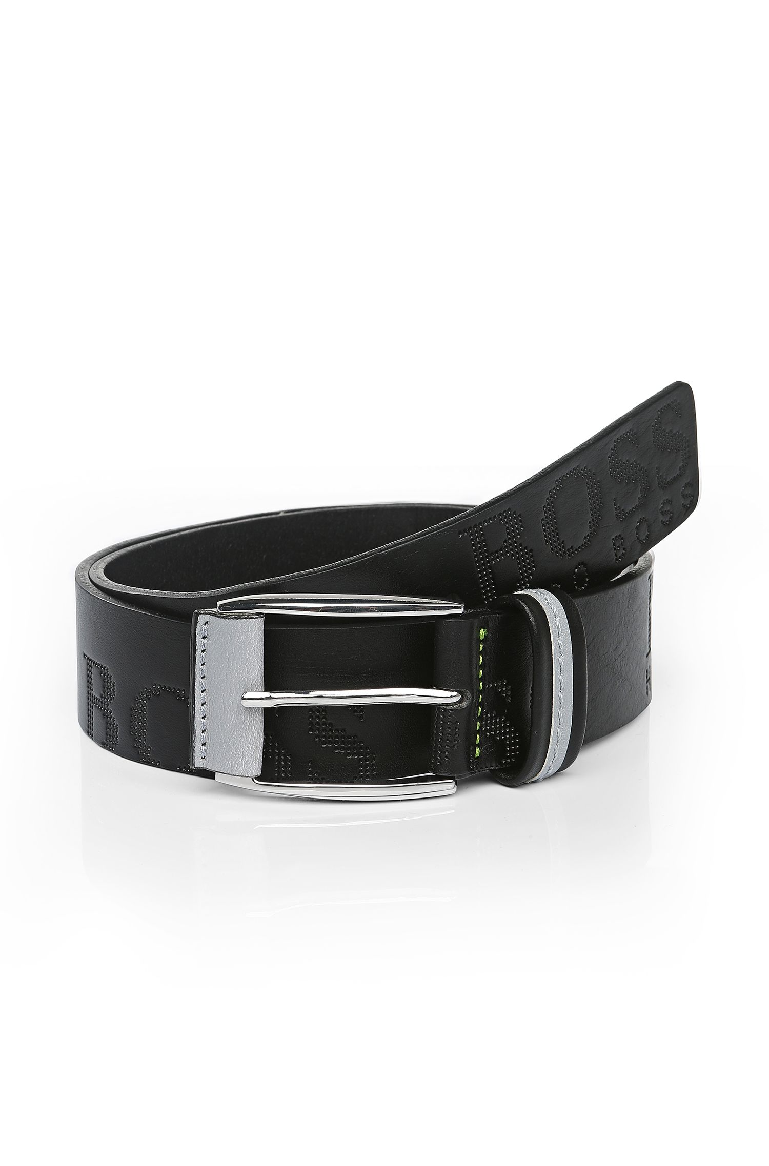 Leather belt with embossed logo: 'MILLOW'