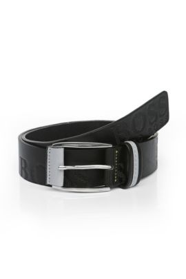 Leather belt with embossed logo: 'MILLOW', Black