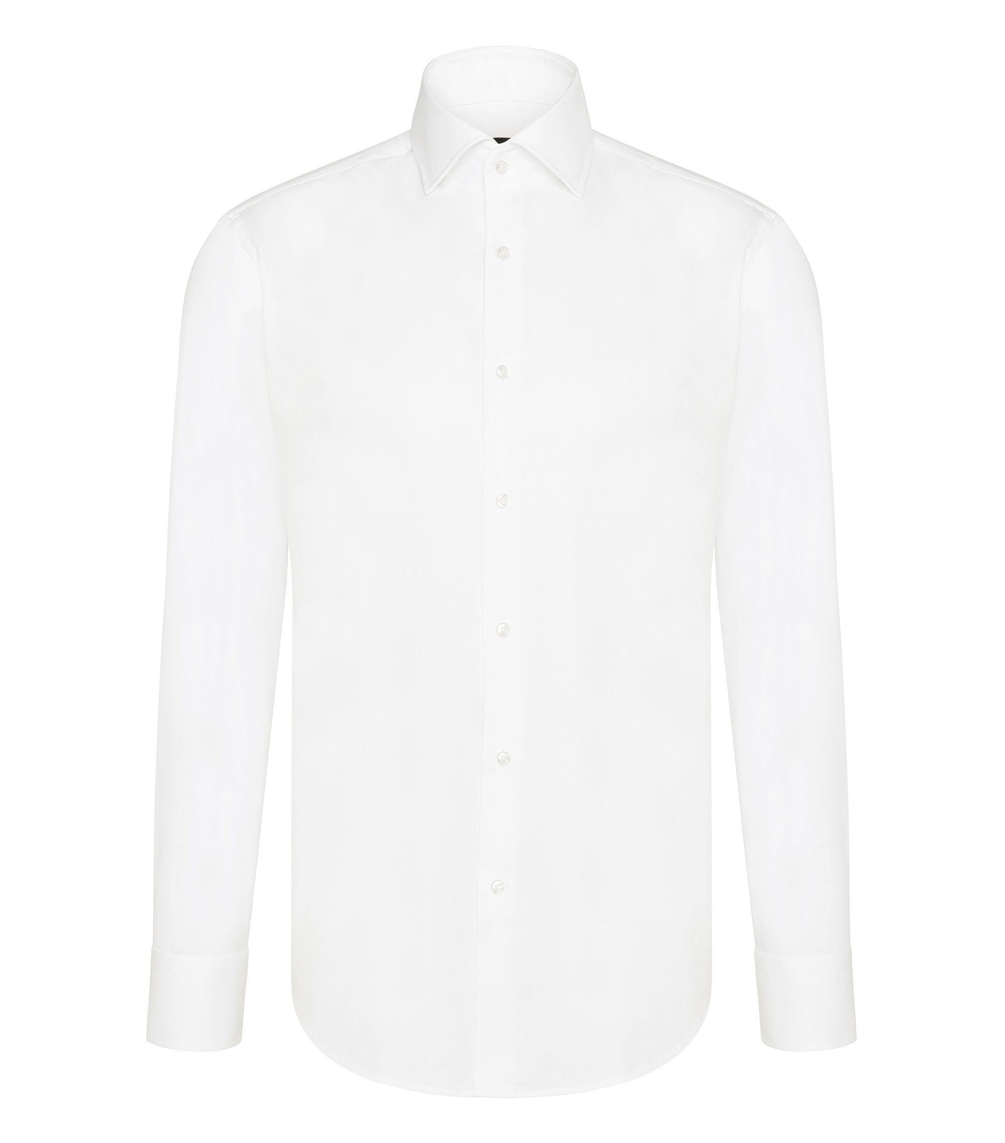 Camisa business regular fit en algodón, Blanco