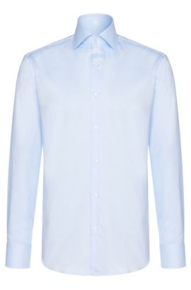 Regular-fit business shirt in cotton, Light Blue