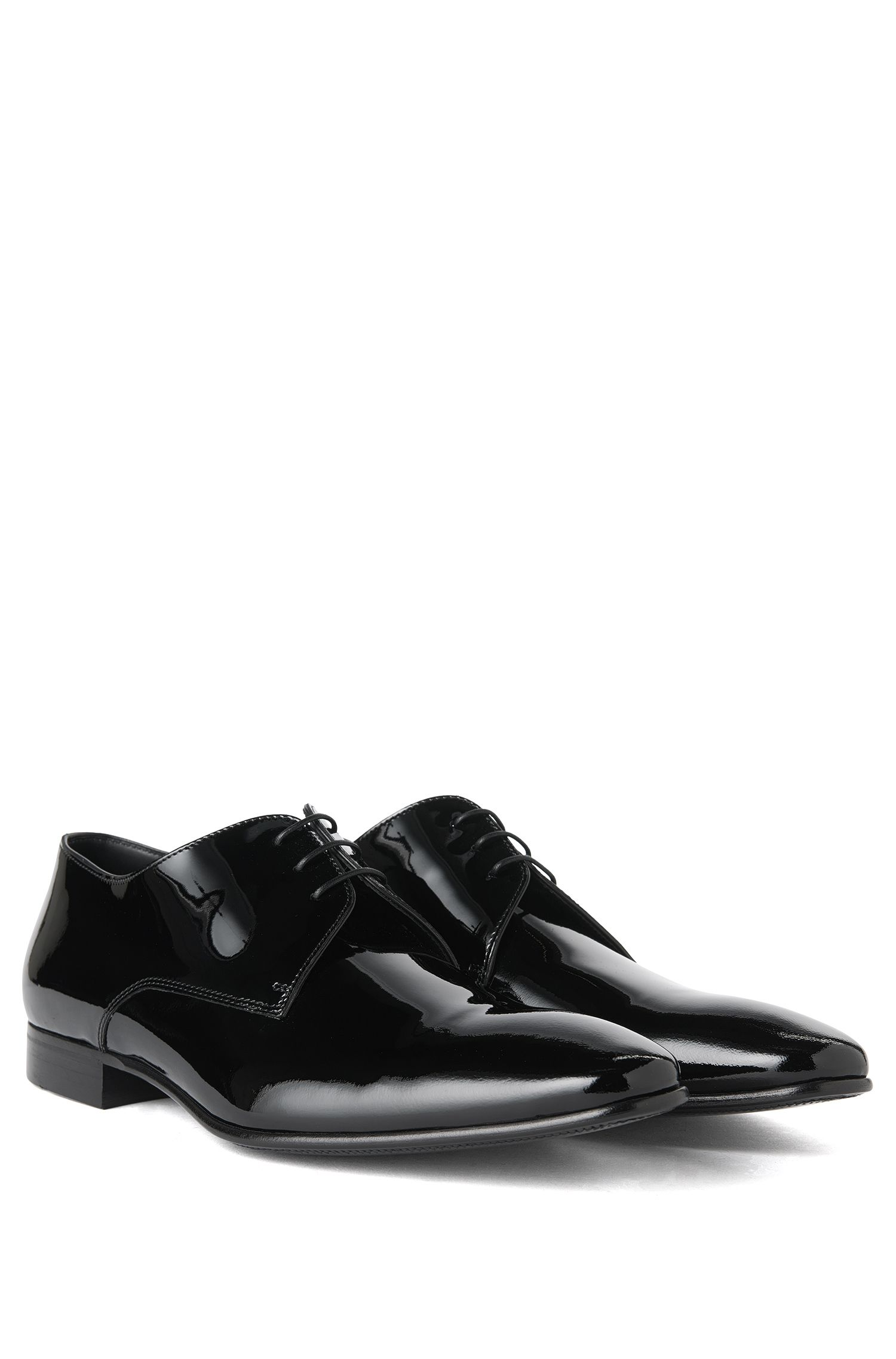 Italian-made lace-up shoe in patent leather , Black